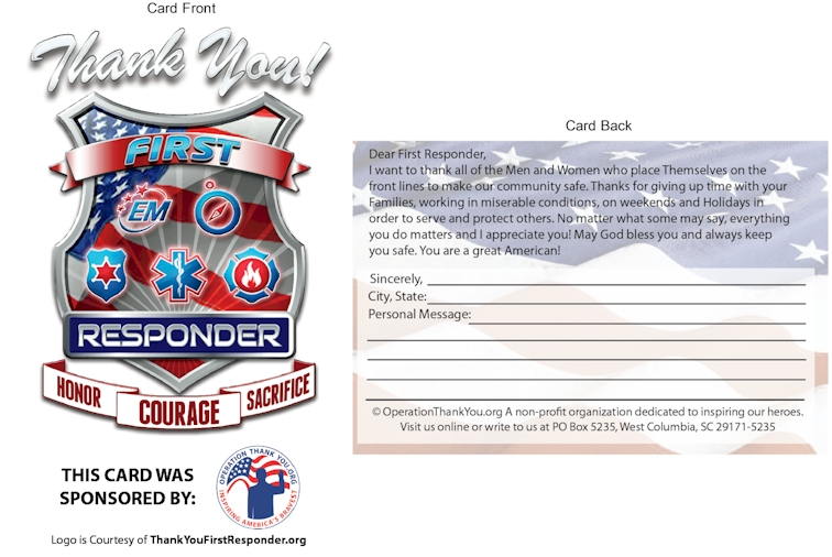 First Responder Thank You Card